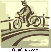 person riding a bike over a bridge Vector Clip Art image