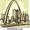 Vector Clipart graphic  of a Gateway Arch