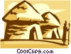 Vector Clipart picture  of a huts