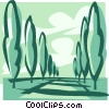Vector Clip Art image  of a tall trees lining the walk way