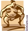 Vector Clip Art graphic  of a sumo wrestler