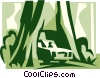 Vector Clipart picture  of a car traveling through a tree