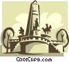 Statues and a monument Vector Clip Art graphic