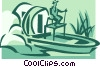 Fan boat on the everglades Vector Clipart graphic