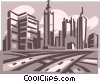 Vector Clip Art picture  of a roadways and city skyline
