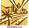 Vector Clipart picture  of a roadways and city skyline