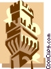 Vector Clip Art graphic  of a watch tower