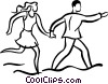 Vector Clip Art graphic  of a couple running