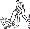 Vector Clipart graphic  of a man cutting the grass