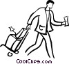 Vector Clip Art image  of a man walking with luggage