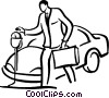 man putting money into a parking meter Vector Clip Art graphic