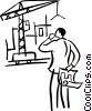 man with blueprints looking at construction site Vector Clipart illustration