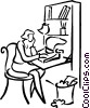 Vector Clipart picture  of a woman typing a letter