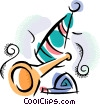 Vector Clipart image  of a party hat and noise makers