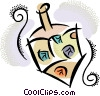 Vector Clipart graphic  of a Spinning dreidel