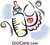 Baby bottle and bib Vector Clipart graphic