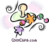 Vector Clip Art image  of a Soother and rattle