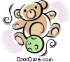 Teddy bear and ball Vector Clipart illustration
