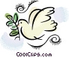 Vector Clip Art picture  of a Peace Dove
