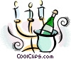 Vector Clipart image  of a Champagne and candles