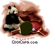 Vector Clip Art image  of a Panda bears and ping pong paddles
