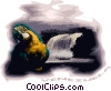 Vector Clip Art image  of a parrot and waterfall