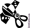 Vector Clipart picture  of a scissors cutting a ribbon