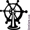 Vector Clipart image  of a captains wheel