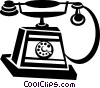 antique telephone Vector Clipart graphic
