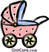 Vector Clipart illustration  of a baby carriage