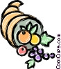 Cornucopia with fruits Vector Clipart illustration