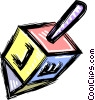 Vector Clip Art graphic  of a Spinning dreidel