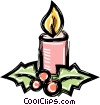 Vector Clipart graphic  of a Christmas candles with holly