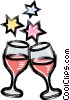 Wine glasses and stars Vector Clipart illustration