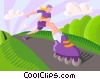 Rollerblading Vector Clip Art graphic