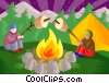 Vector Clipart image  of a Campers roasting marshmallows