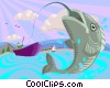 Vector Clipart graphic  of a Fish with a hook in its mouth