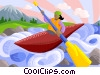 Vector Clipart graphic  of a woman kayaking