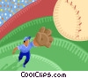 Baseball player catching a ball Vector Clipart picture