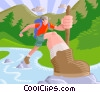 Person hiking through creek Vector Clipart graphic