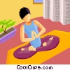 Relaxing at Home or Cottage Vector Clip Art graphic