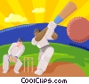 Vector Clip Art graphic  of a cricket players
