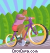 Vector Clip Art image  of a man riding a bicycle