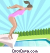 Woman diving off of a diving board Vector Clip Art picture