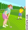 woman playing golf Vector Clip Art image