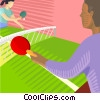 Vector Clipart image  of a people playing ping pong