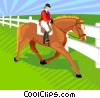 Vector Clipart picture  of a Woman riding a horse
