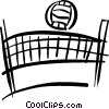 Vector Clip Art image  of a volleyball net