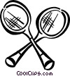 Vector Clipart graphic  of a Badminton rackets