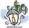 Candle with holly Vector Clip Art graphic